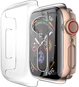Coobes Compatible with Apple Watch Case Series 6/5/4 SE 44mm 40mm, Ultra-Thin PC Plating Bumper with Clear Screen Protector Full Cover Shell Slim Lightweight Frame Compatible iWatch (Clear, 44mm)