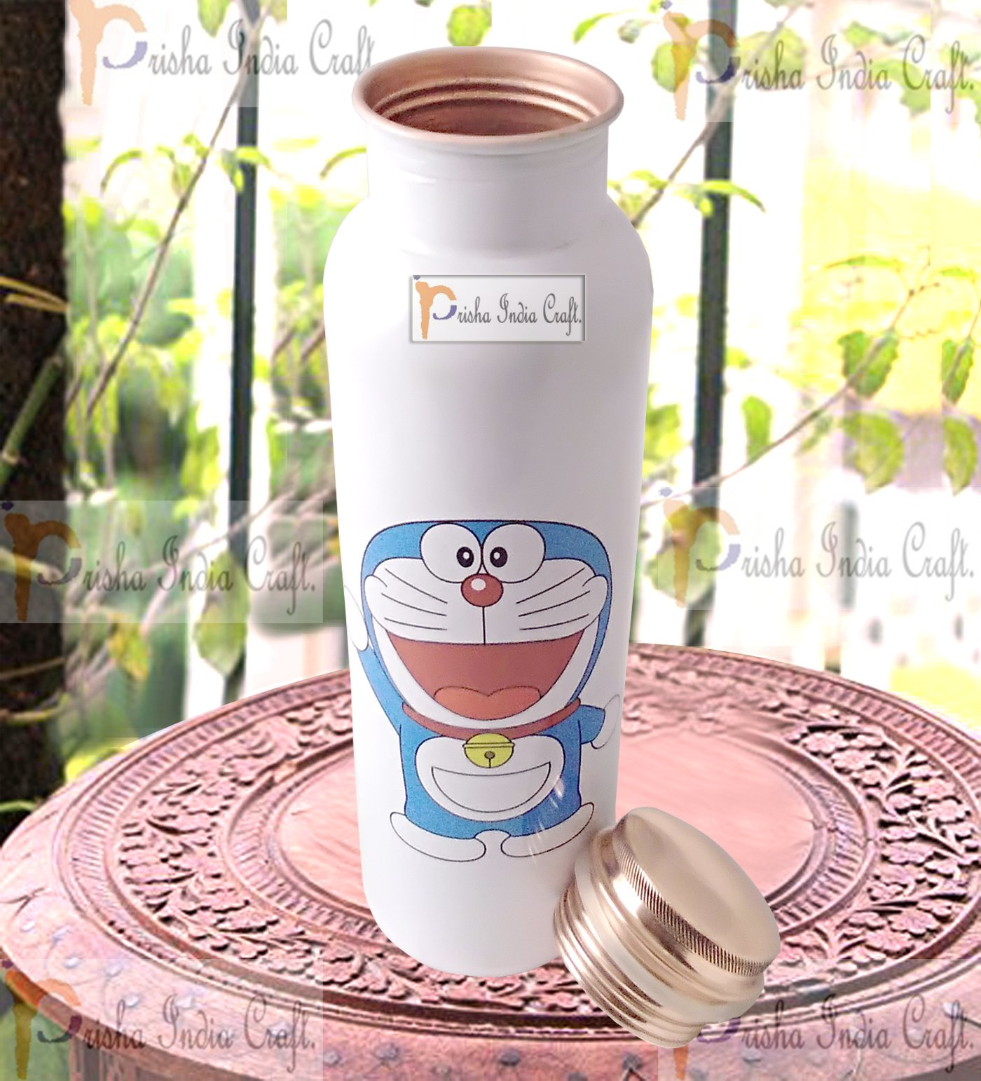 Prisha India Craft Digital Printed Pure Copper Water Bottle Kids School Water Bottle - Doremon Design, 1000 ML