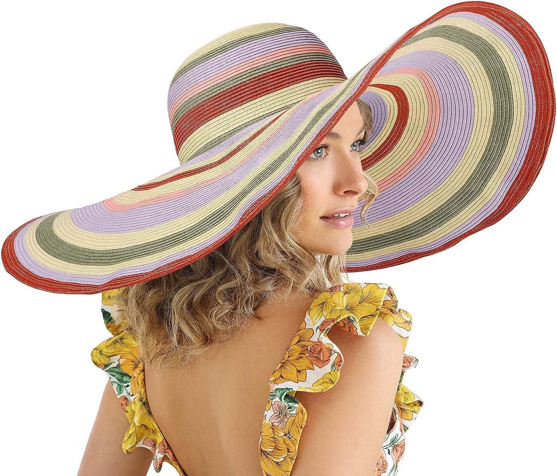 FEMSÉE Oversized Wide Brim Hats for - Beach Brand Cheap Sale Venue Finally popular brand Ha Sun Women Rainbow