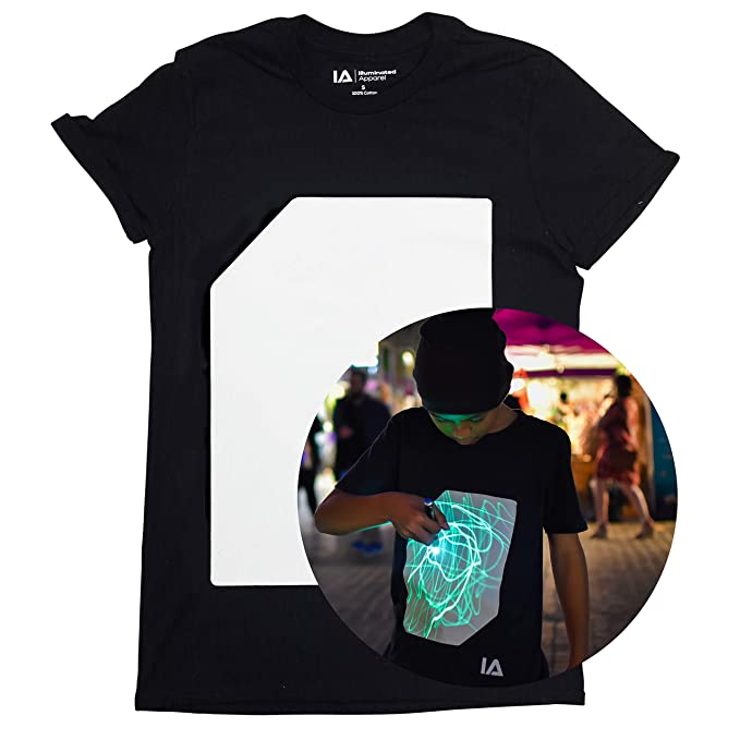 badacfe5af9 Illuminated Apparel Interactive Glow in The Dark T-Shirt - Fun for Birthday  Parties
