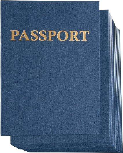 Pasaporte, paquete de 24 cuadernos en blanco para proyectos escolares, juegos de rol, libros de recortes, azul marino, 10.8 x 14,6 cm,.: Amazon.es: Oficina y papelería