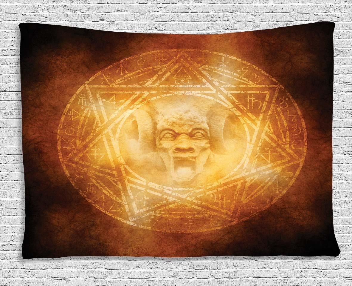 Ambesonne Horror House Decor Tapestry, Demon Trap Symbol Logo Ceremony Creepy Ritual Fantasy Paranormal Design, Wall Hanging for Bedroom Living Room Dorm, 60 W X 40 L Inches, Orange