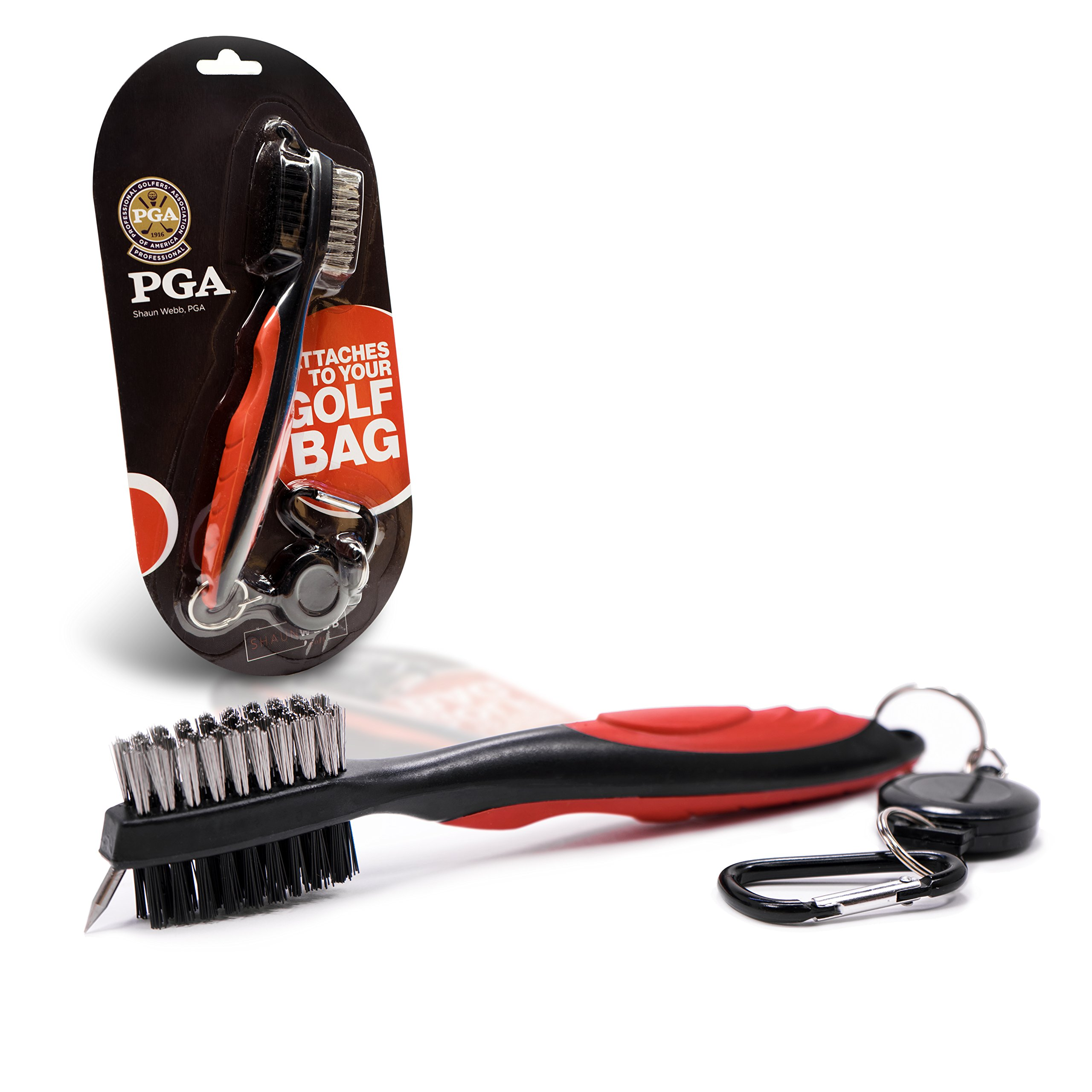 """Shaun Webb's PGA, Golf Brush Set, All-in-1 Cleaner for Irons, Woods, Groove and Shoe with Retractable Zip-line Cord (Over 23"""" Long) Lightweight and Ergonomic Design."""