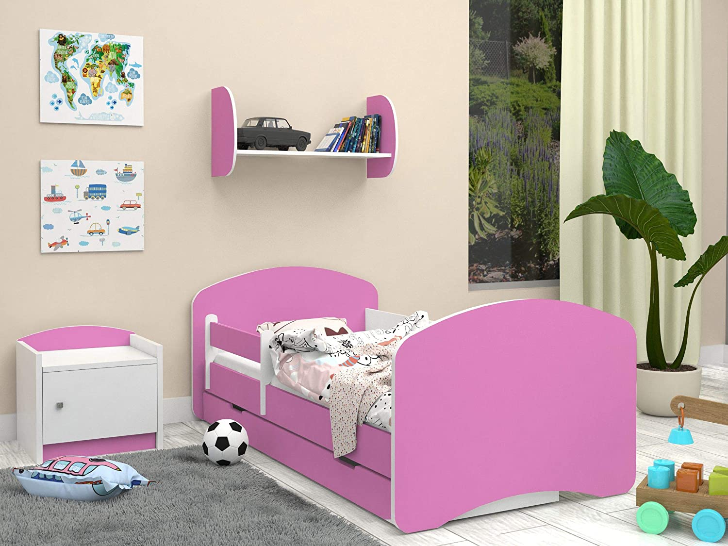 Double-sided CHILDRENS BED WITH DRAWER Modern Design with Safe Edges and Fall Protection foam Mattress 7 cm Pink Happy Babies 00 Pink, 140x70