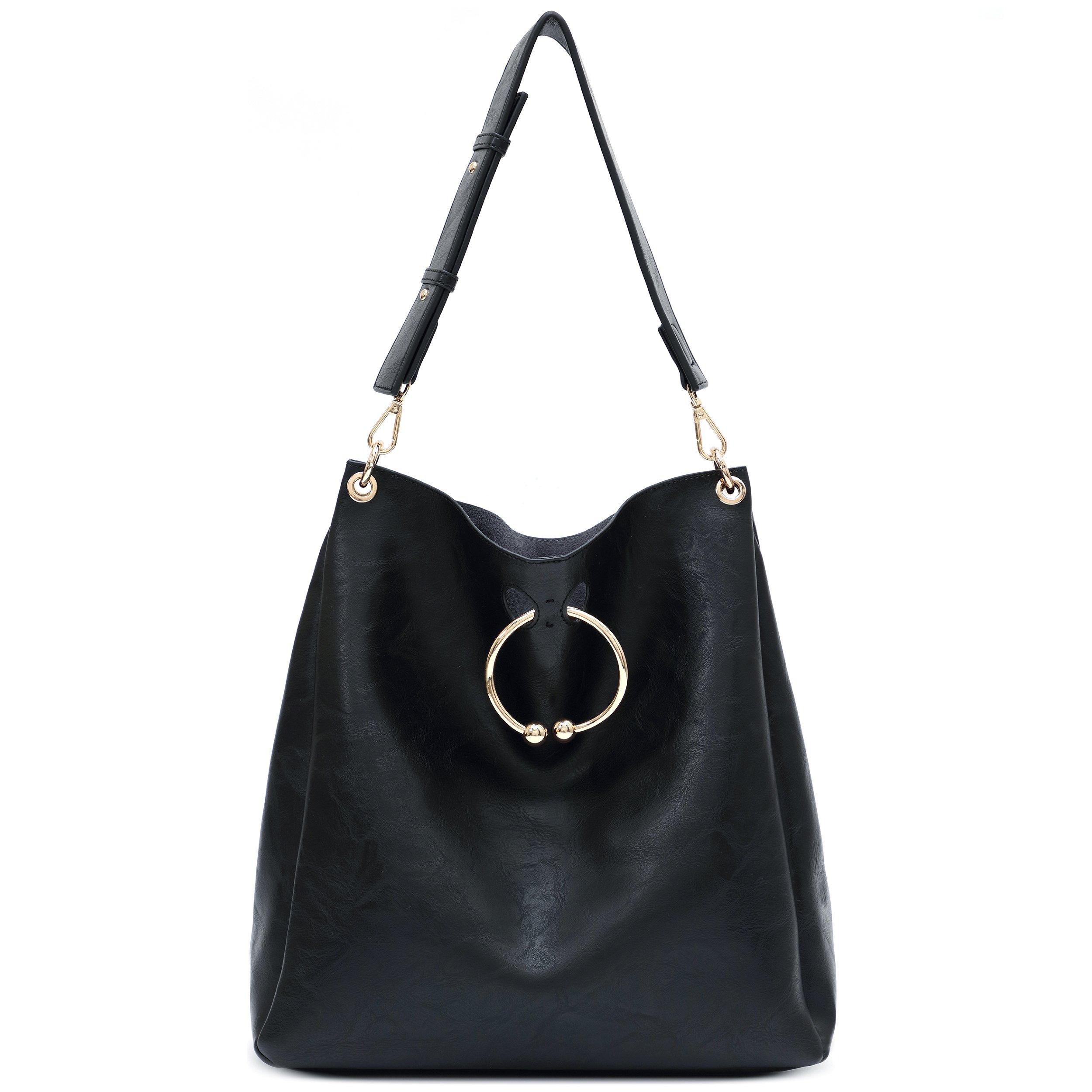 Women's Soft Faux Leather Hobo Handbags Ladies Shoulder Bag Tote Purse (Black)