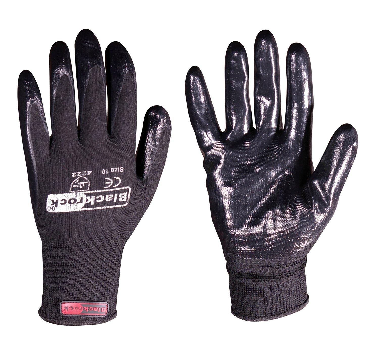 120Paar Blackrock Schwarz Nitril Super Grip Handschuh Größe 11/XXL