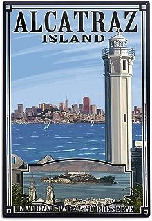 product image for Lantern Press San Francisco, California - Alcatraz Island and City 31268 (6x9 Aluminum Wall Sign, Wall Decor Ready to Hang)