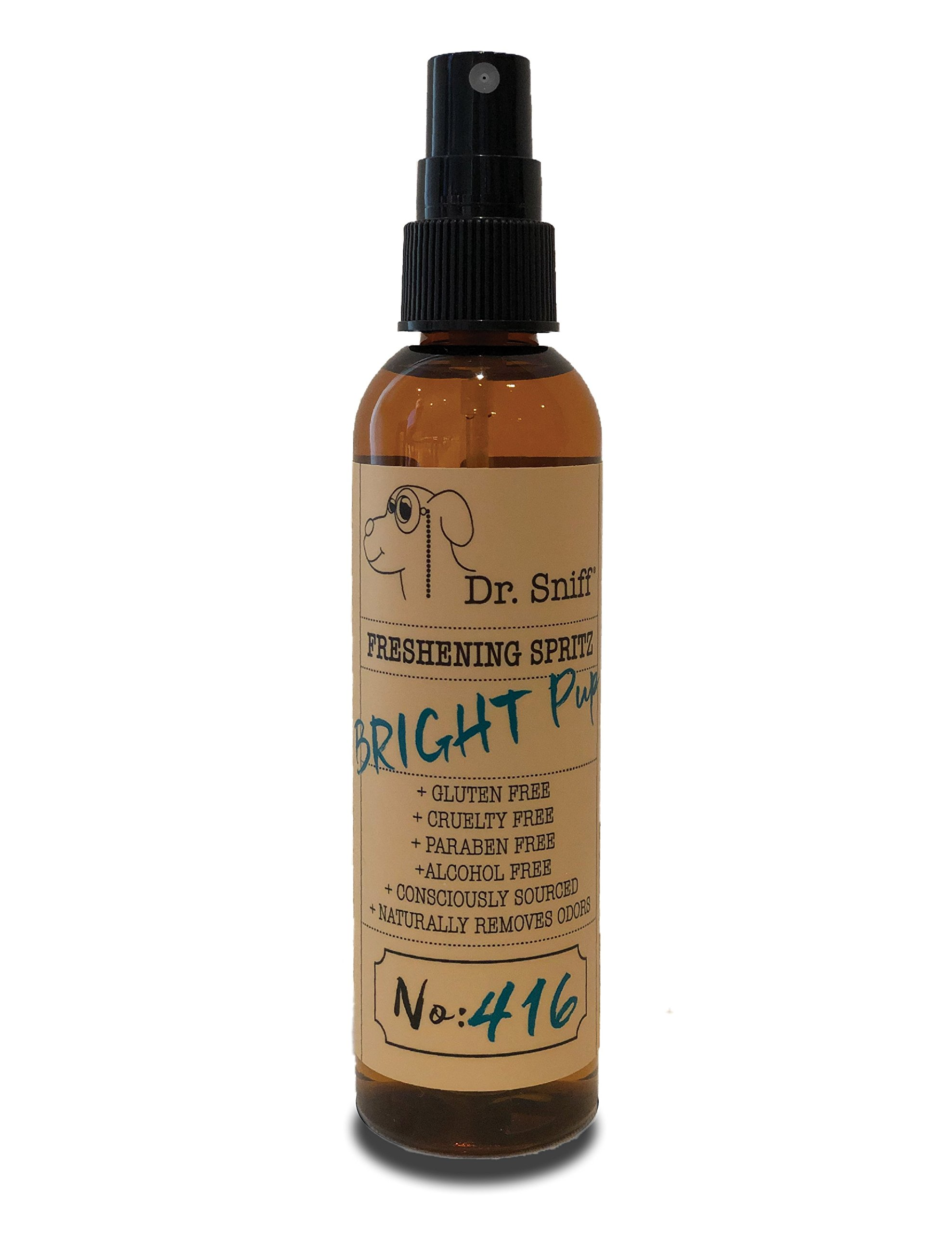 Dr. Sniff Freshening Spritz (Bright Pup) | Deodorizing Spray | Made with Organic Aloe, Organic Agave and Argan Oil | Free of Alcohol, Parabens, Toxins, Sulfates and Gluten | Eliminates Odors | 4oz