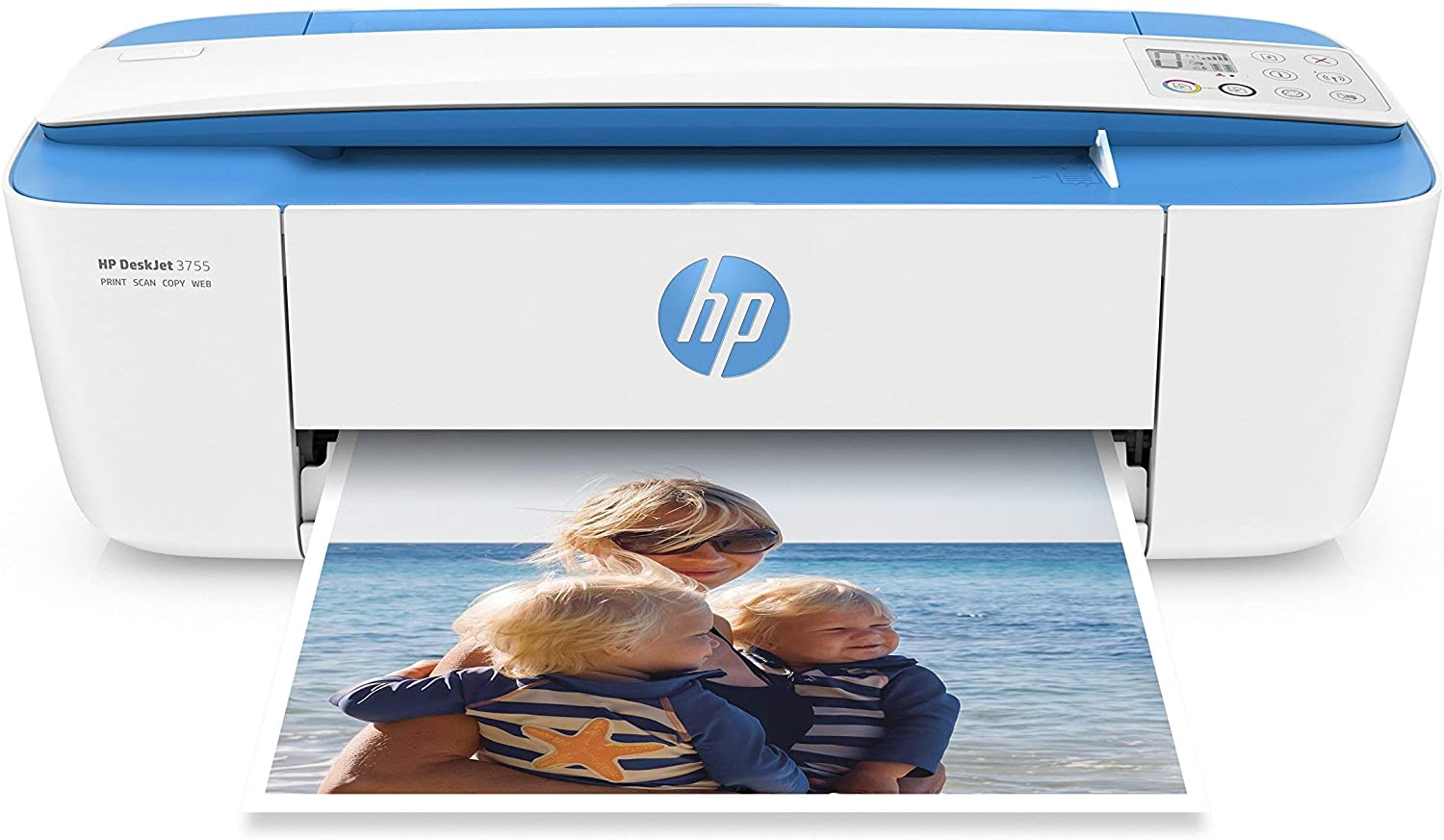HP DeskJet 3755 Compact All-in-One Wireless Printer with Mobile Printing, HP Instant Ink & Amazon Dash Replenishment ready - Blue Accent (J9V90A) (Renewed)