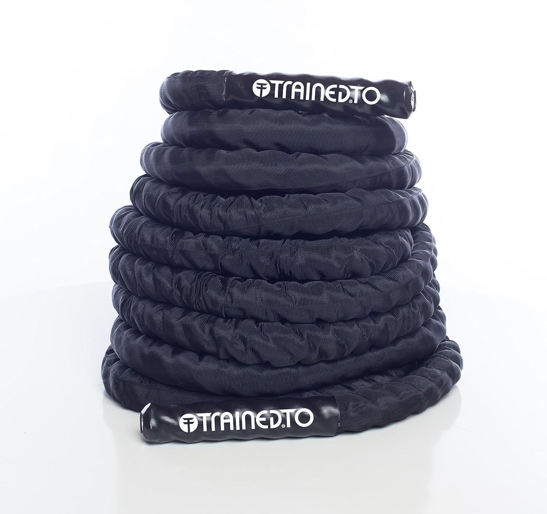 TrainedTo Battle Rope – 38 mm Seil für Crossfit, Bodybuilding, Fitnessstudio & Home Training (9/12 m/15 Länge)