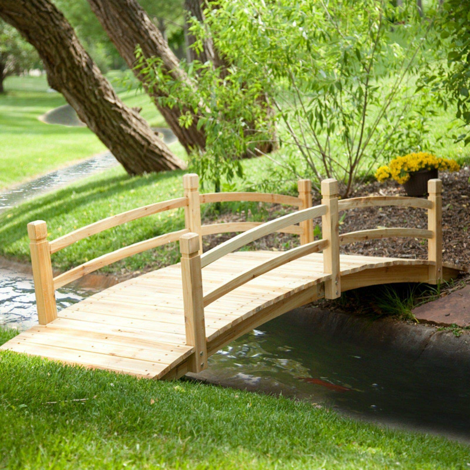 Home Improvements Natural Finish Wood 8 Foot Garden Bridge Outdoor Yard Lawn Landscaping Decor by Home Improvements (Image #1)