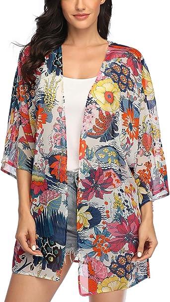 Women Floral Printing Long Sleeves Cardigan Beach Kimono Loose Bikini Cover Up