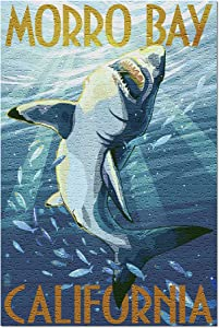 Morro Bay, California - Stylized Sharks (Premium 500 Piece Jigsaw Puzzle for Adults, 13x19, Made in USA!)