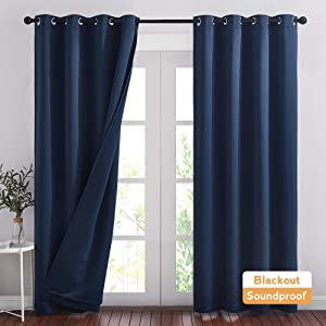 RYB HOME Soundproof Blackout Energy Effeciency 3-in-1 Curtain Set with Notoxic Detachable Liner for Home Office Theater Privacy Seperating Drapes, Navy Blue, W 52 x L 95 inches, 2 Pcs