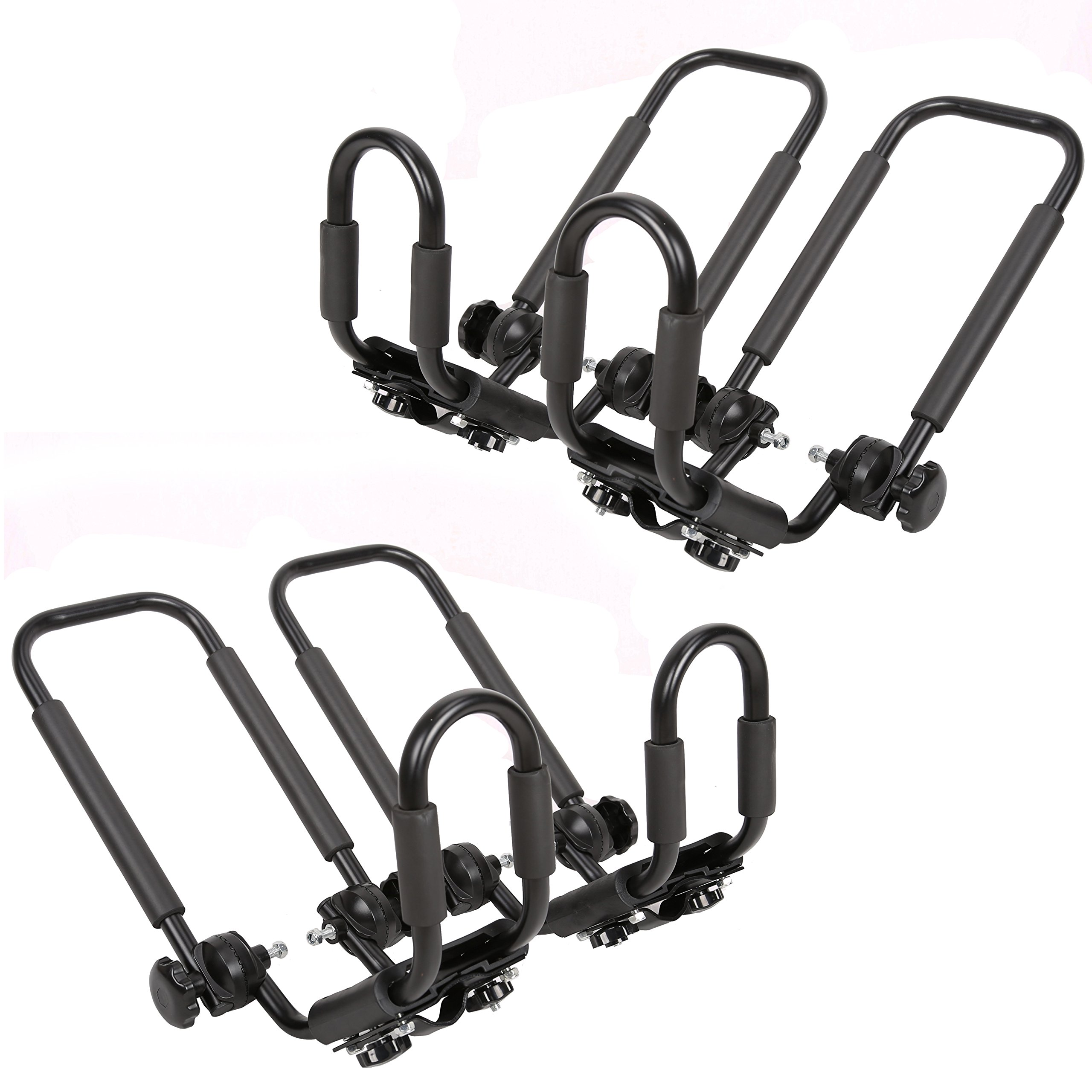 2 Pairs Folding Kayak Carrier Boat Canoe Rack Snowboard J-Bar Roof Top Mounted