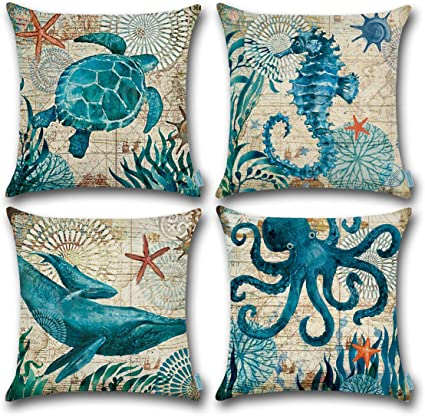 Carrie Home Nautical Pillows Decor Octopus Seahorse Whale Turtle Decorative Throw Pillow Covers 18 X 18 Inch For Beach House Set Of 4 Home Kitchen Amazon Com
