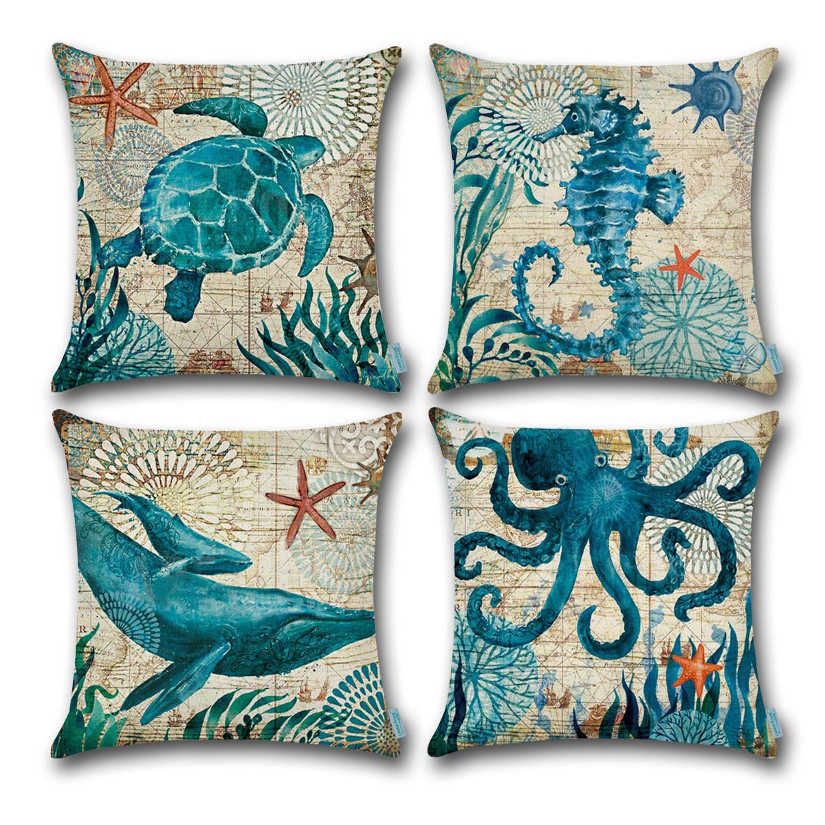 CARRIE HOME Nautical Pillows Decor Octopus/Seahorse/Whale/Turtle Decorative Throw Pillow Covers 18 x 18 Inch for Beach House, Set of 4