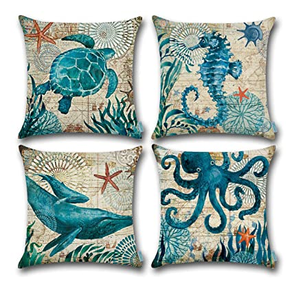 Amazon CARRIE HOME Nautical Pillows Decor OctopusSeahorse Enchanting Nautica Pillow Covers