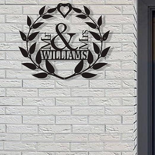 metal art Royal Monogram monogram gifts metal name sign wall decor, outdoor signs monogram ring metal wall art Housewarming Gift