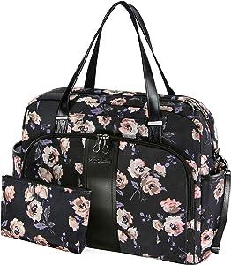 """KROSER Laptop Tote Bag 15.6"""" Stylish Shoulder Bag Water-Repellent Large Travel Bag with RFID Pockets for Work/Business/School/College/Women-Rose Pattern"""