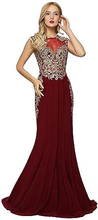 b915c5b0 Meier Women's Sleeveless Gold Embroidery Evening Formal Dress Burgundy Size  6