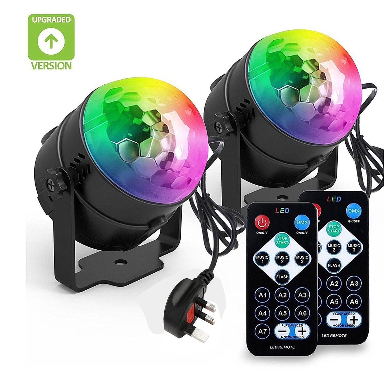 BLISSO Party Lights Sound Activated Disco Ball Strobe Light, Xmas Party Lights, 7Colors Stage Lights 3W LED Strobe Light for Bar Club DJKaraoke Wedding Show Birthday Decoration Outdoor[2-PACK][UK-PLUG] INCON-UK