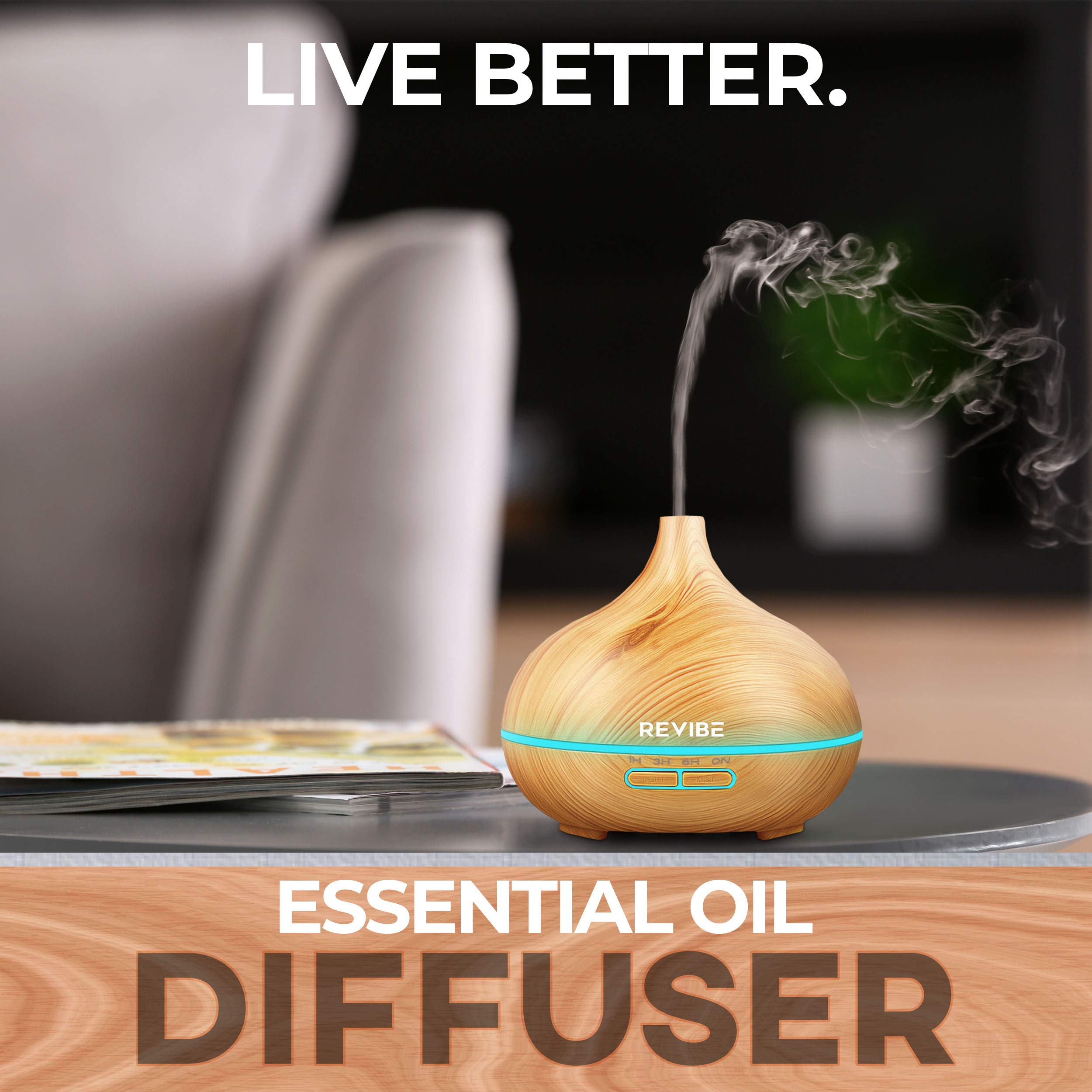 Ultrasonic Humidifier Night Light Diffuser - Create a Glorious Aroma throughout your Home and Experience the Benefits of Aromatherapy by Revibe (Image #2)