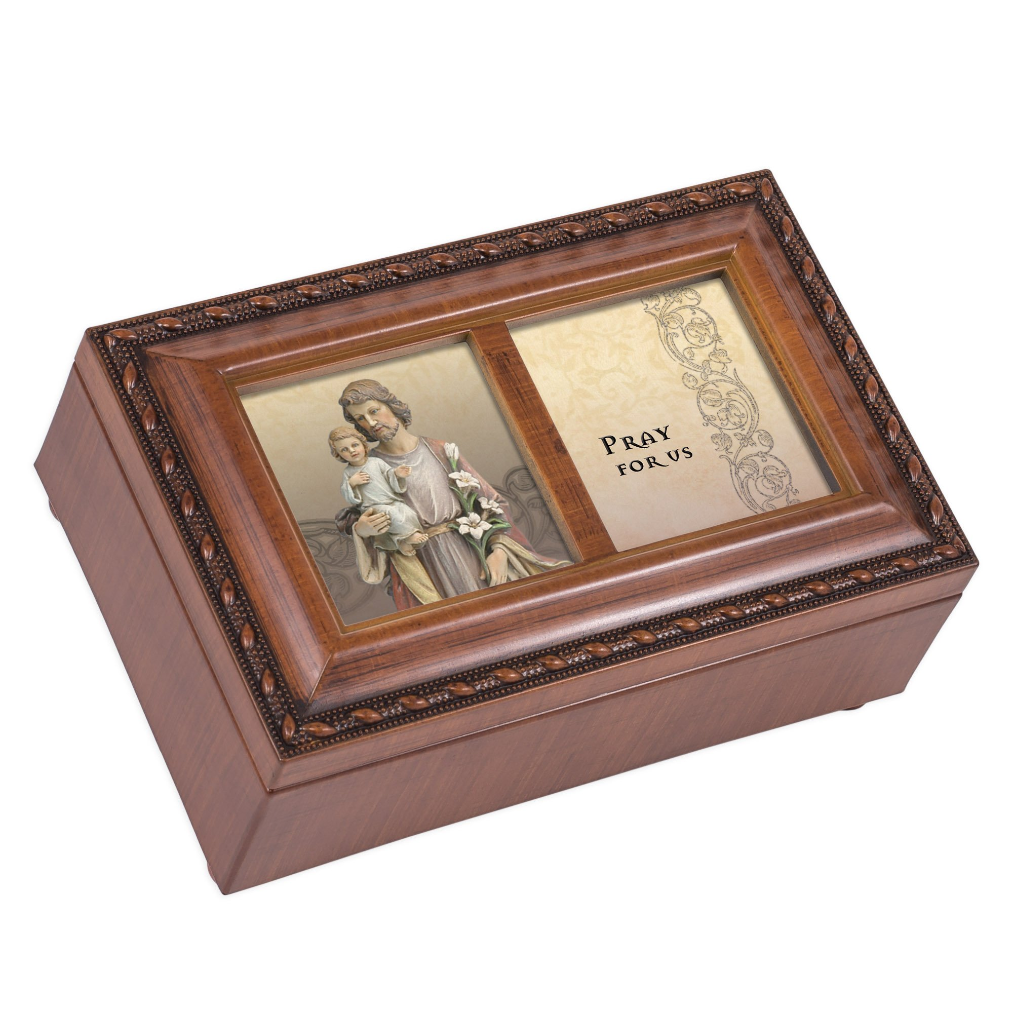 Cottage Garden St. Jospeh Wood Finish Small Jewelry Music Box Plays We Have a Friend in Jesus