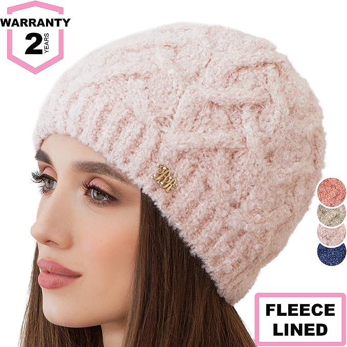 edf59daf8 Braxton Beanie for Women - Knit Winter Warm Fashion Fleece Hat - Wool Snow  Boucle Outdoor Ski Cap