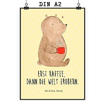 Mr Mrs Panda Poster Din A2 Bär Kaffee Kaffee Coffee Bär Bären Guten Morgen Morgenroutine Welt Erobern Welt Retten Motivation Poster