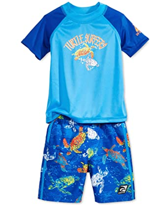 e81bde4bbc Amazon.com: LAGUNA 'Sea Turtles' Baby Boys 2-Pc. Rash Guard & Swim Shorts  Set (4T/4, Blue): Clothing