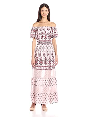 3f1292d4d41 Taylor and Sage Women s Printed Off The Shoulder Maxi Dress at ...