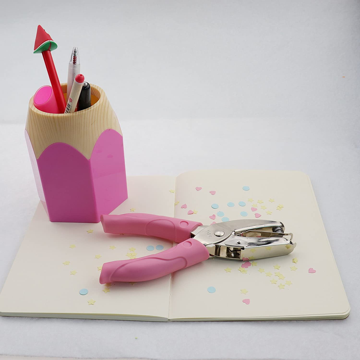 Single Hole Punch Paper Puncher with Pink Grip(Large Circle)