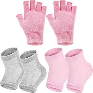 Bememo 3 Pairs Spa Moisturising Socks and Gloves Set, Moisture Open Toe Gel Heel Socks Gel Hand Fingerless Moisturizing Gloves (Pink and Grey)