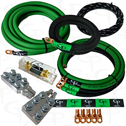amazon com: 1/0 awg gauge ofhc complete stage 1 amp wiring kit gp car audio  green black: automotive
