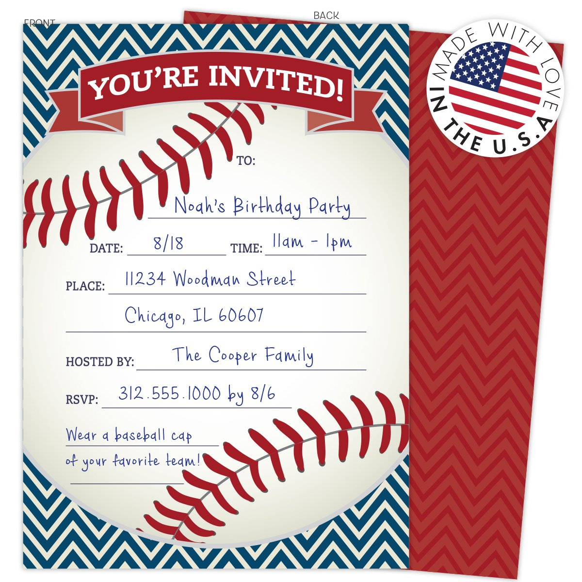 Amazon.com: Baseball Party Invitations in Red and Navy. Set of 25 ...