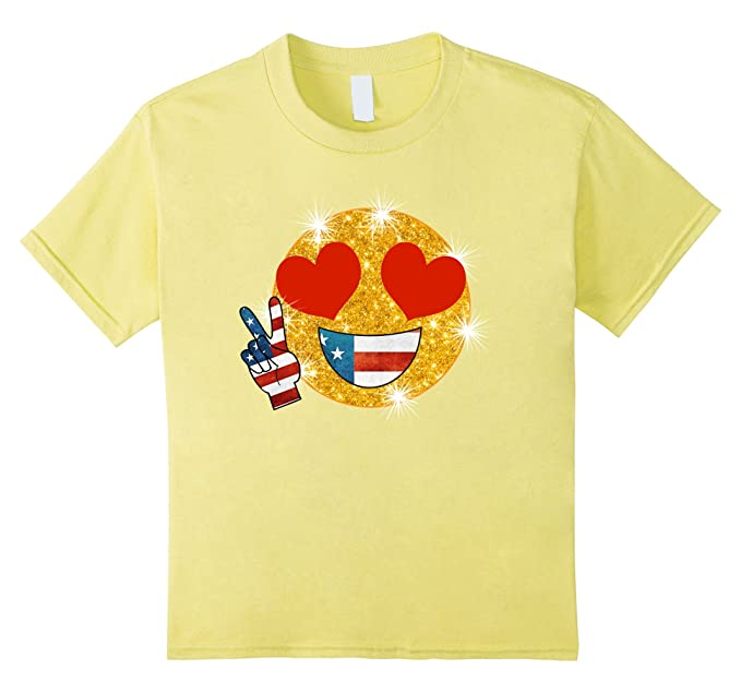 Amazon.com: Heart Eyes Emoji Flag Shirt Patriotic TShirt Peace Sign Fun: Clothing