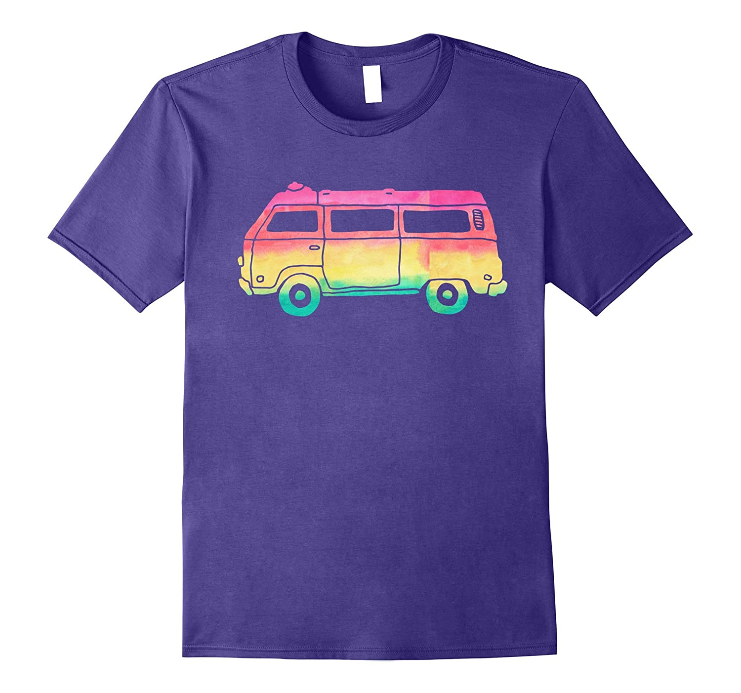 Cute Hippie Camper Van Rainbow Watercolor Boho Pink T Shirts-PL