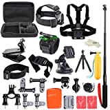 GoPro Accessories, ccbetter 42-in-1 Outdoor Essential Action Camera Kit for Gopro HD Hero 4 3+ 3 2 1, SJCAM Sj4000 Sj5000 Sj6000, CS720 CS720W CS710, XIAOMI YI Camera, Chest Belt Strap + Head Strap + Floating Grip + Selfie Stick + Car Suction Cup Mount Holder + Helmet Mount + Bike Mount + Tripod Mount + Carry Case, in Parachuting Diving Surfing Rowing Running Cycling Camping