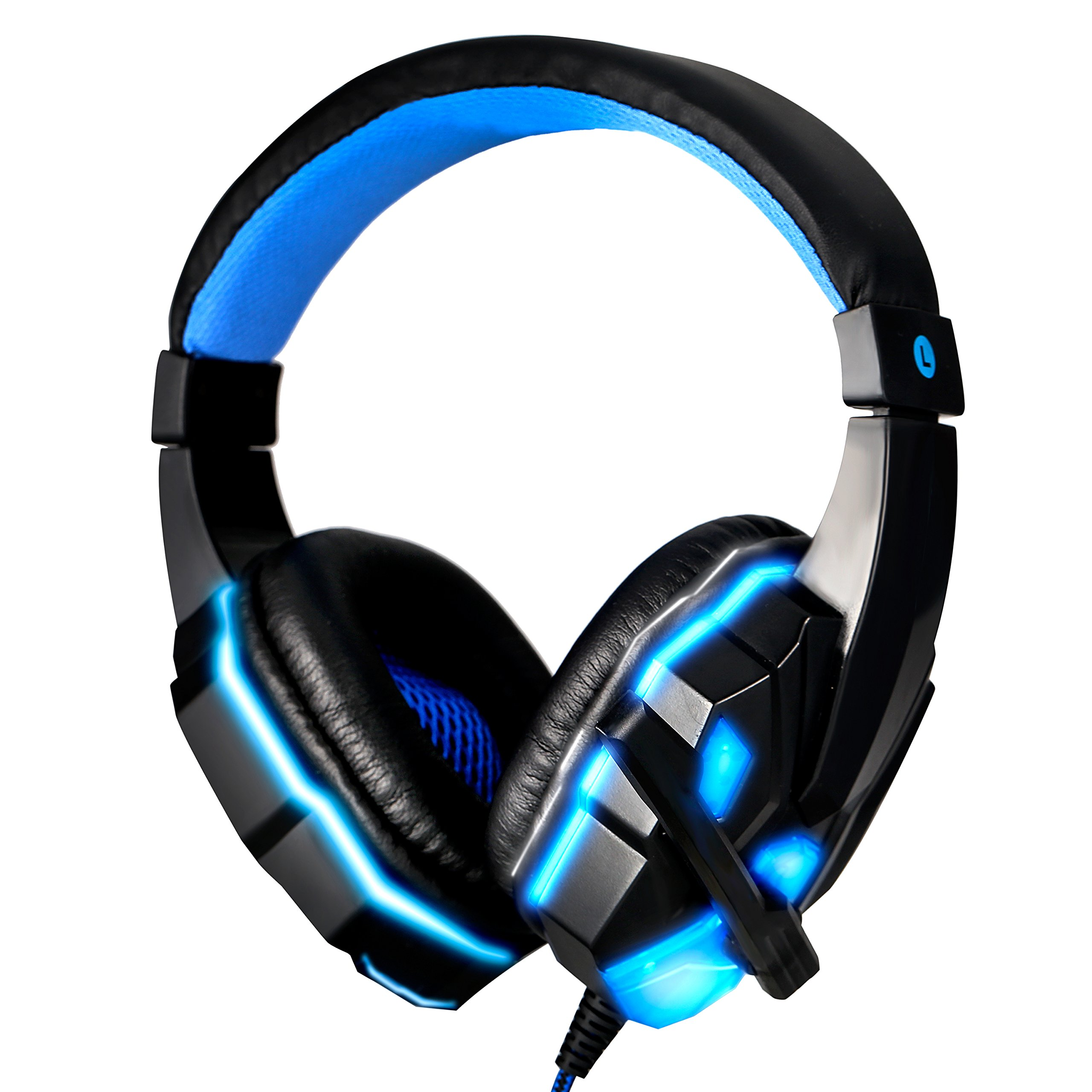 Gaming Headset Noise Cancelling Over Ear Headphones with Mic, LED Lights for PC Laptop Mac iPad Computer Smartphones USA Shipping(Black Blue) by Pevor