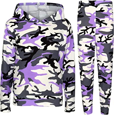 A2Z 4 Kids Kids Girls Tracksuits Designers Camouflage Hooded Top Bottom Casual Loungewear Lounge Suit Nightwear Legging Outfit Sets New Age 7 8 9 10 11 12 13 Years