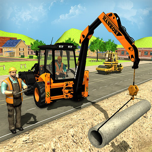 City Road Builder Pipe Line & City Building Excavator Simulator Crane Driving and Construction Games For kids - Builder Truck