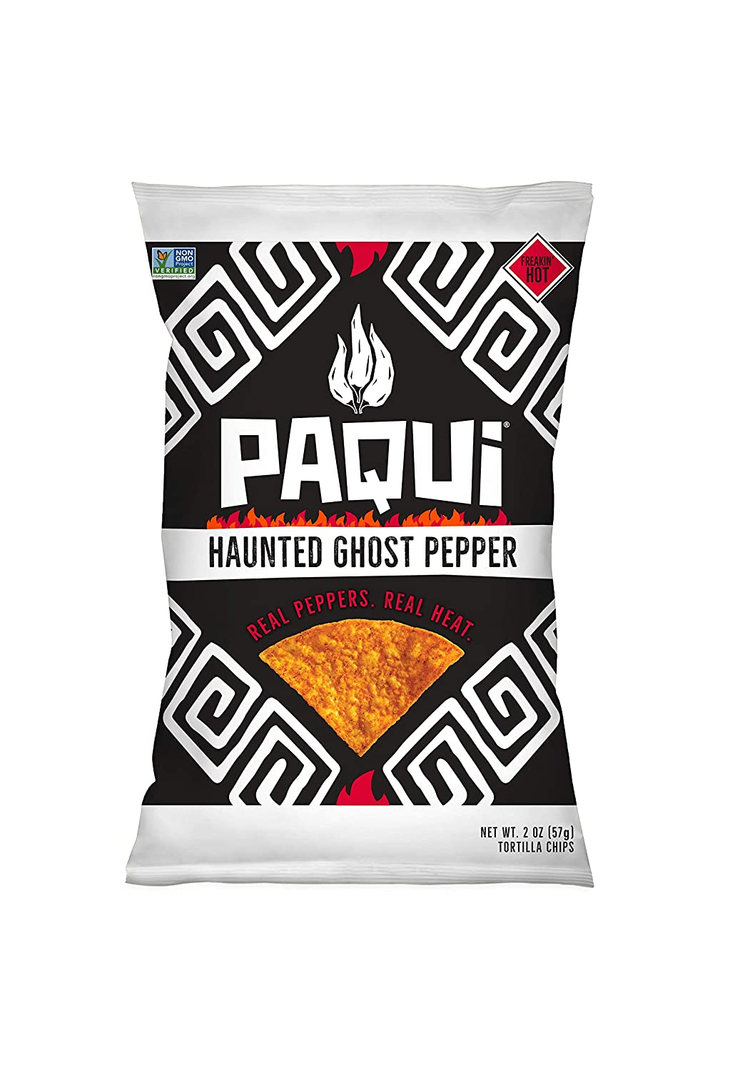 Paqui Spicy Hot Tortilla Chips, Gluten Free Snacks, Non-GMO, Haunted Ghost Pepper, 2oz Individual Snack Sized Bags (Pack of 6)