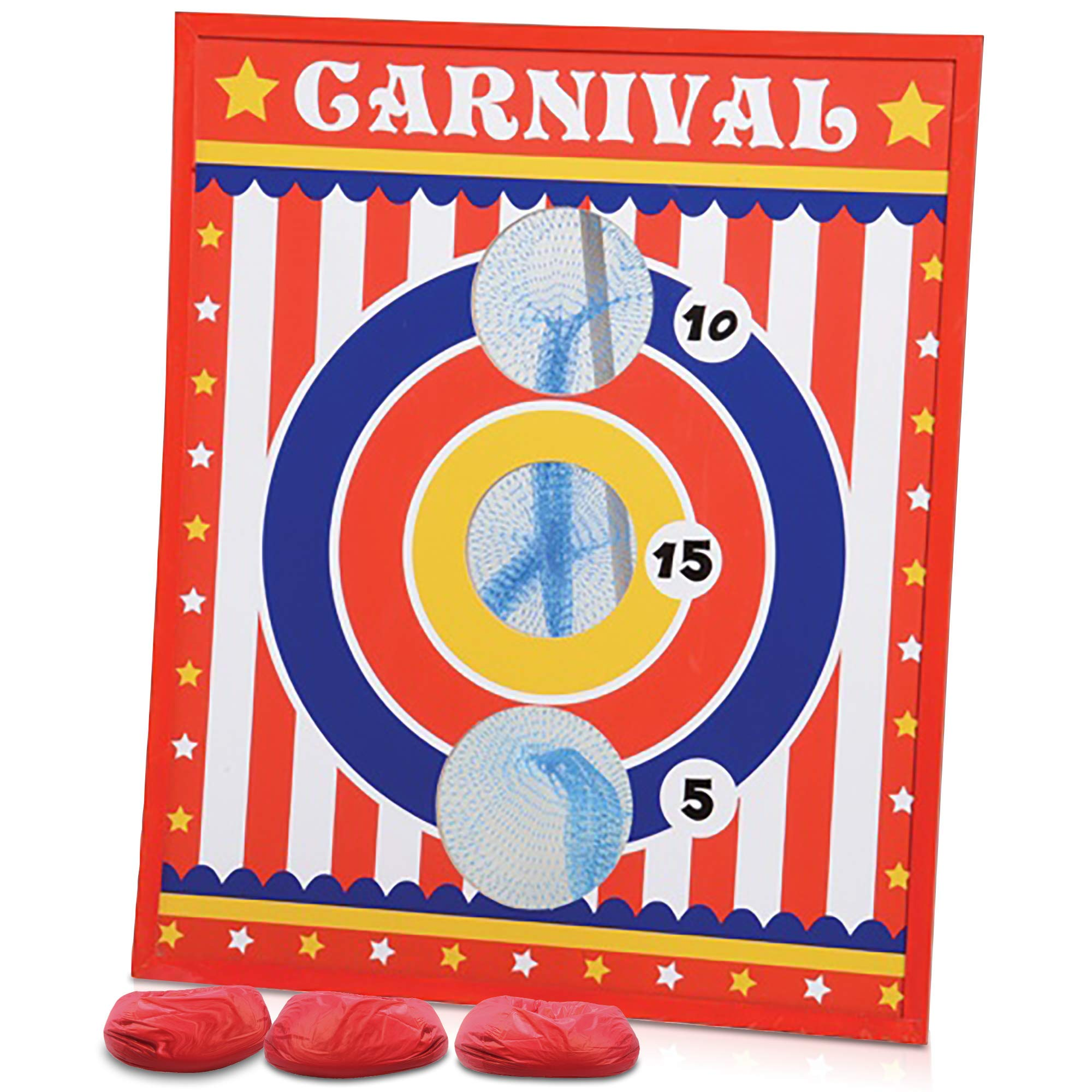 Gamie Carnival Bean Bag Toss Game for Kids, Adults and Family - Includes 3 Beanbags and Durable Wood Scoreboard - Fun Birthday Party Activity for Boys and Girls, Unique Carnival Supplies by Gamie