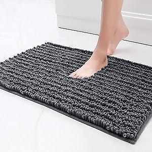 Color&Geometry Original Luxury Chenille Bath Rug Mat, 16x24 Shaggy Rugs, Soft and Absorbent, Machine Wash Dry, Non-Slip Carpet Mats for Bathroom, Tub, Shower, Dark Gray