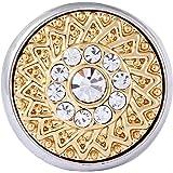 Morella Damen Click-Button Druckknopf goldfarben mit weißen Zirkoniasteinen