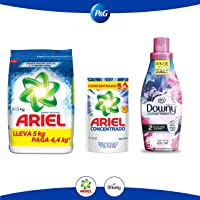 Ariel Detergente en Polvo 5 Kg + Downy Floral Suavizante de Telas 800 ml + Ariel Detergente líquido concentrado 400 ml