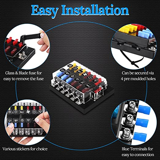 waterwich 12 way blade fuse box standard circuit fuse holder box auto fuse  box car pre fuse box