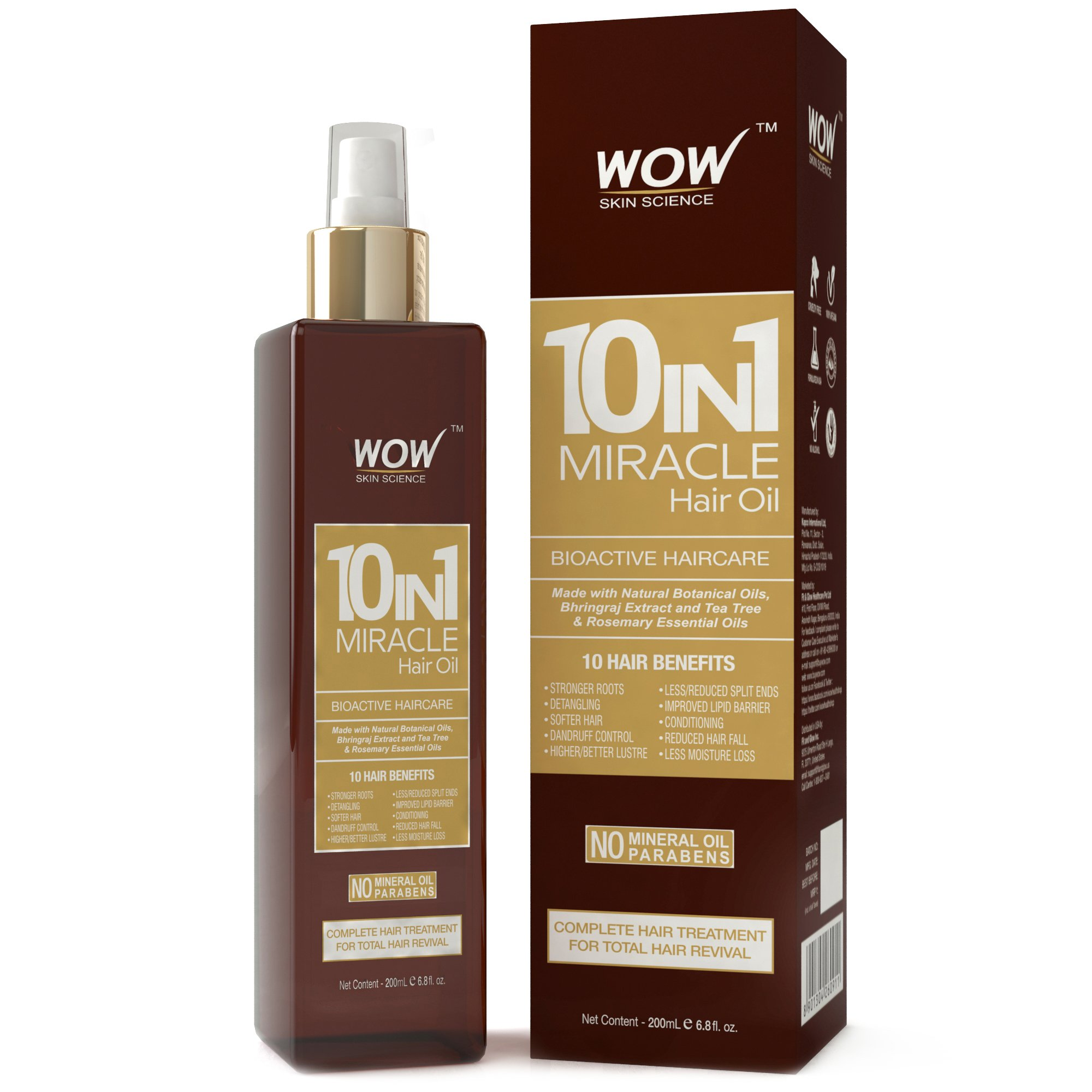 WOW 10 in 1 Miracle No Parabens and Mineral Oil Hair Oil, 200ml product image