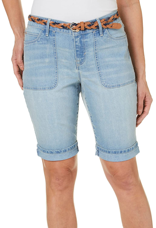4b648d4d96 Gloria Vanderbilt Petite Women's Rachel Belted Denim Bermuda Shorts at  Amazon Women's Clothing store: